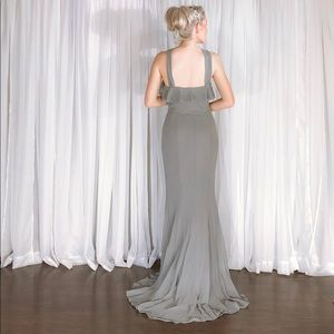 Quillaree Dresses - Grey Extra Long Bridesmaid Dress Silk